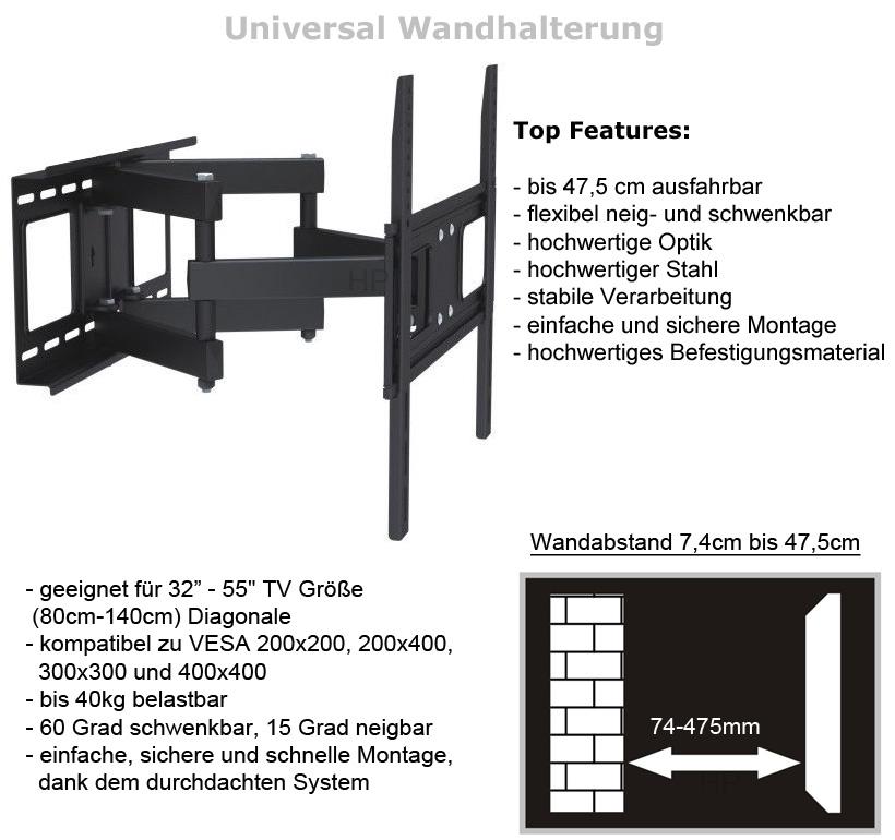 tv wandhalterung universal bis 55 sony samsung lg sharp philips toshiba vesa. Black Bedroom Furniture Sets. Home Design Ideas